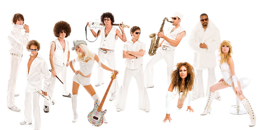 The Boogie Wonder Band – The Ultimate Disco Tribute is available for corporate gigs. Credit: Blue Moon Talent Inc.