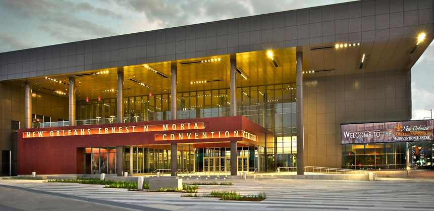 The entrance to the New Orleans Ernest N. Morial Convention Center's new 60,300-sf Great Hall, which debuted in January. Credit: MCCNO