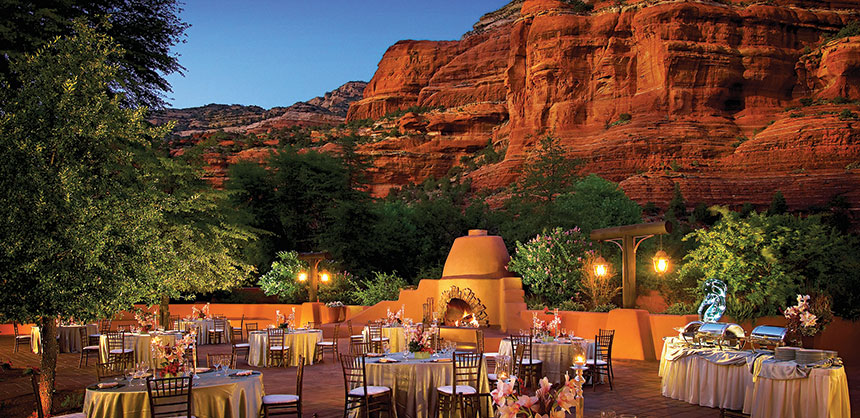 In the Meeting Village at Enchantment Resort, the Village Terrace offers breathtaking views of Sedona's majestic red rock formations. Credit: Enchantment Resort