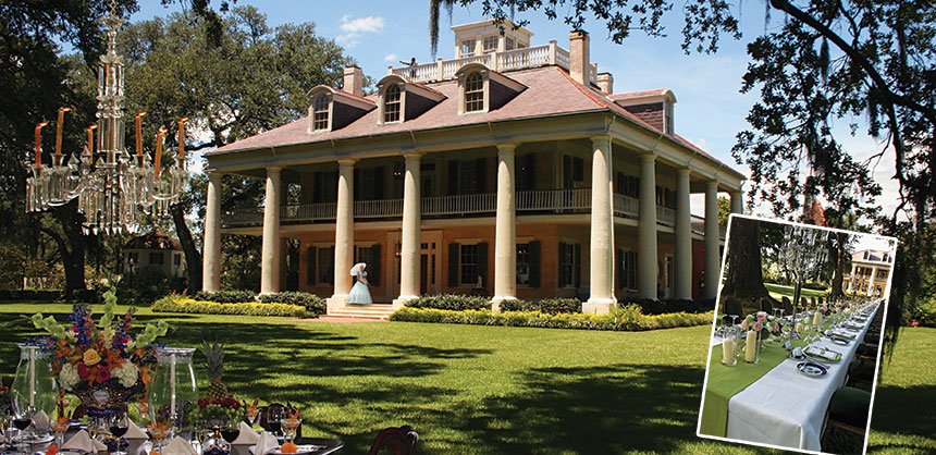 Houmas House Plantation and Gardens, located between Baton Rouge and New Orleans, is an ideal site for corporate receptions and outings. Credit: Custom Conventions. Inset photo credit: BBC Destination Management