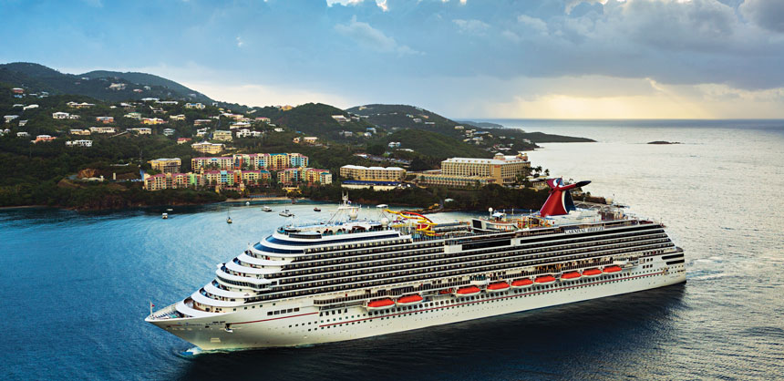 The new Carnival Breeze, shown here cruising in St. Thomas, features six- and eight-day Caribbean cruises out of Miami. Credit: Carnival Cruise Lines