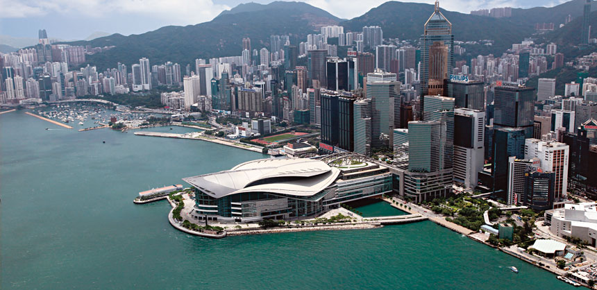 The award-winning Hong Kong Convention and Exhibition Centre.