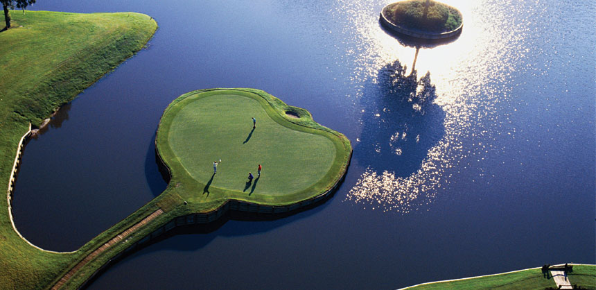 Even the best professional golfers can't help but dunk a ball or two in the water surrounding the famous par-3 17th hole at TPC Sawgrass, Ponte Vedra Beach, FL, home to the PGA Tour's Players Championship. Credit: TPC Sawgrass