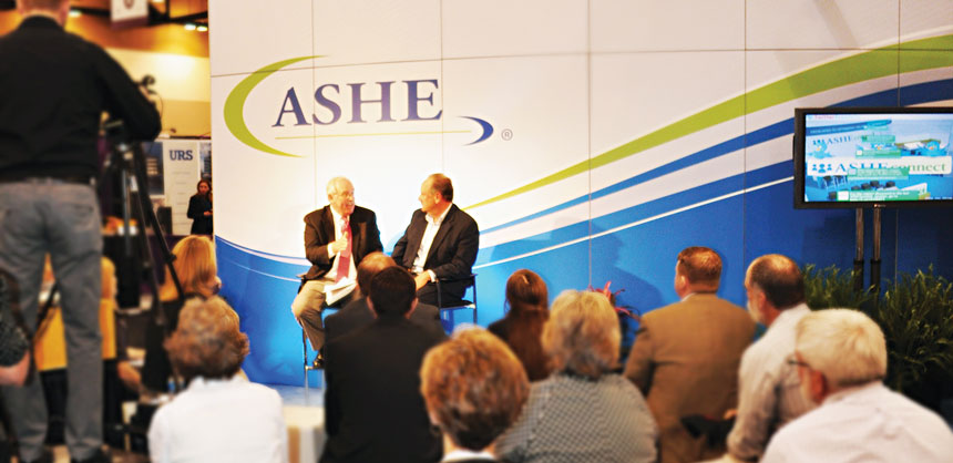 The American Society for Healthcare Engineering tries to drive much of the activity at its annual meeting to a central hub on the exhibit floor known as ASHE Connect. Credit: The Expo Group
