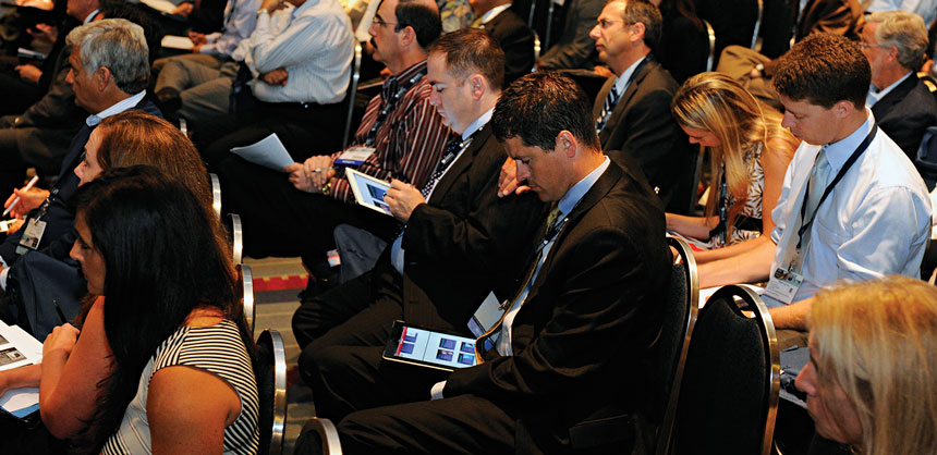 Attendees interact with their iPads during an American Academy of Otolaryngology – Head and Neck Surgery Foundation education program. Credit: AAO-HNSF and The Photo Group