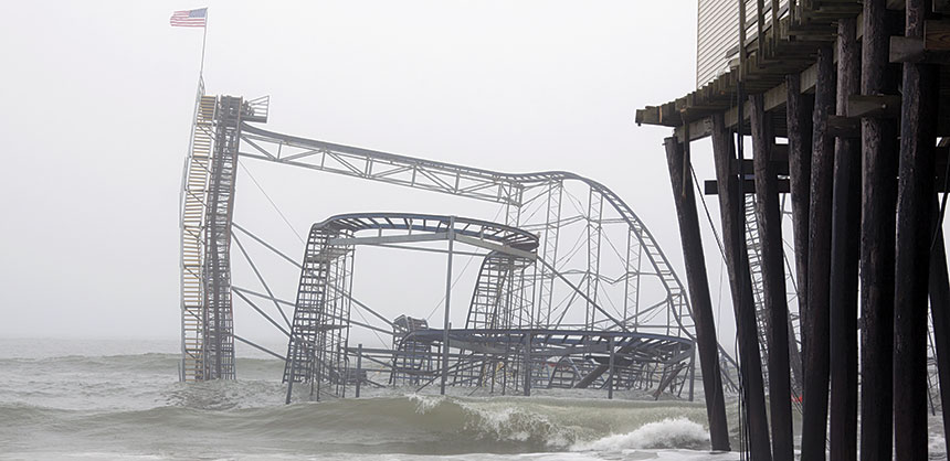 An iconic image — The Casino Pier Star Jet roller coaster was submerged just off the Seaside Heights, NJ, boardwalk after Hurricane Sandy in October 2012 and demolished in May 2013. Credit: Glynnis Jones/Shutterstock.com