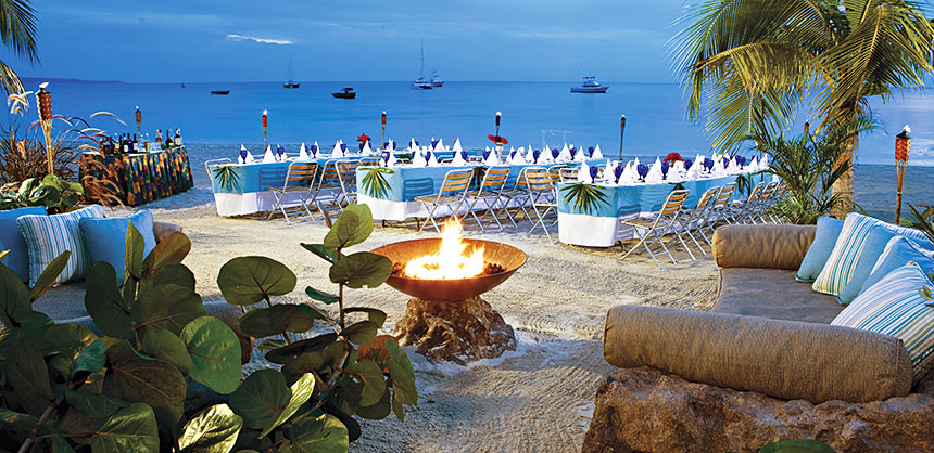 No tie (or shoes) required for beach events like this one at a Sandals resort. The Sandals Luxury Meetings & Incentives Collection offers nine all-inclusive luxury resorts in six Caribbean countries. Credit Sandals Resorts International