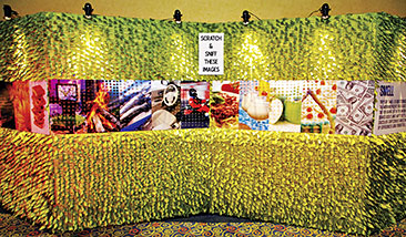 Specialized scratch-n-sniff wallpaper is making a comeback. This new version, which offers customization and interactive capabilities, truly offers an engaging experience for attendees. Credit: Access Destination Services