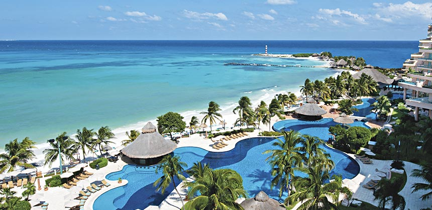 An aerial view of the inviting Fiesta Americana Grand Coral Beach Cancun Resort & Spa, which boasts Cancun's best beach.