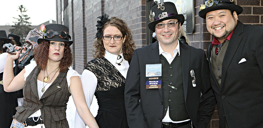 "Steampunk is hot again says Brian Acheson because it is ""entertaining and unique."" The 2013 ISES Minnesota Star Awards used a steampunk theme as shown here to the delight of their participants. Credits: Studio Laguna Photography"