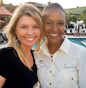 Matrix Communications Marketing Director Karie Timion with Francine Stewart of Sandals La Source Granada.