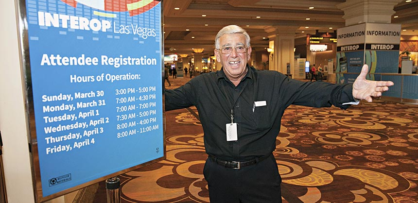 It's great to be in Vegas, says this enthusiastic attendee of Interop Las Vegas 2014 at Mandalay Bay. High attendee engagement in a destination is important to UBM Tech, which has held the Interop annual technology conference in Las Vegas since 1994. Credit: Interop Las Vegas 2014