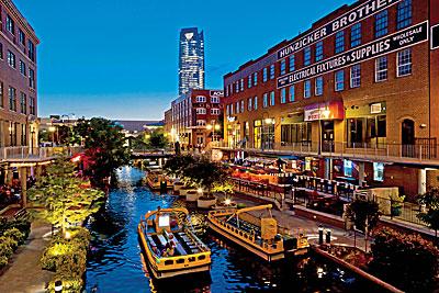 Oklahoma City's  Bricktown entertainment district.