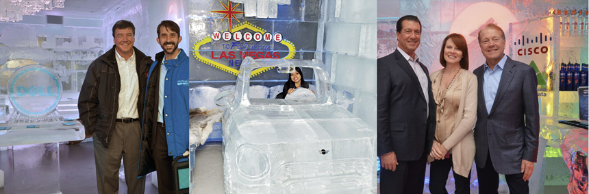 MGM's Minus5 Ice Lounges creatively showcase corporate brands in ice: (left to right) Dell demonstrated the durability of their new notebook computers alongside their logo ice sculpture;  actual size ice Mini Cooper; and Cisco.