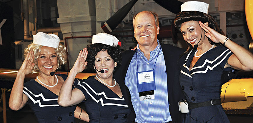The American Financial  Services Association rented San Diego's USS Midway for a reception on the vintage aircraft carrier's flight deck. Credit: Michele Battaline, CMP