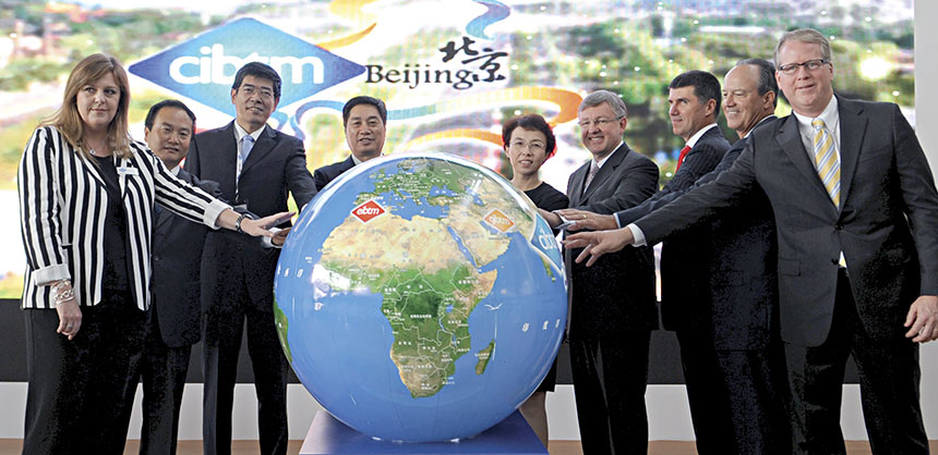 Touching the globe at last year's CIBTM are (l to r) Jacqui Timmins, Asia exhibition director of Reed Travel Exhibition Group, Song Yu, vice chairman of Beijing Municipal Commission of Tourism Development; Lu Yong, chairman of Beijing Municipal Commission of Tourism Development; Cheng Hong, vice mayor of Beijing Municipal Government; Madam Cheng Hong, vice mayor of Beijing Municipal Government; Marthinus Van Schalkwyk, minister of tourism, South Africa; Craig Moyes, portfolio director, Reed Travel Exhibitions Leisure Portfolio; David Dubois, CEO of IAEE; and Paul Van Deventer, president and CEO of MPI. Credit: CIBTM