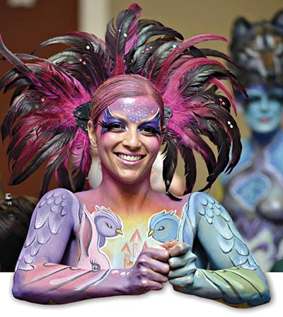 An illustrated attendee at The Face and Body Art International Convention. Credit: Draco Noir Photography