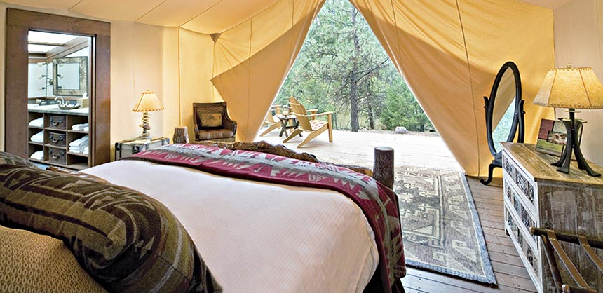 Luxury tent accommodations at Paws Up Resort in Montana.