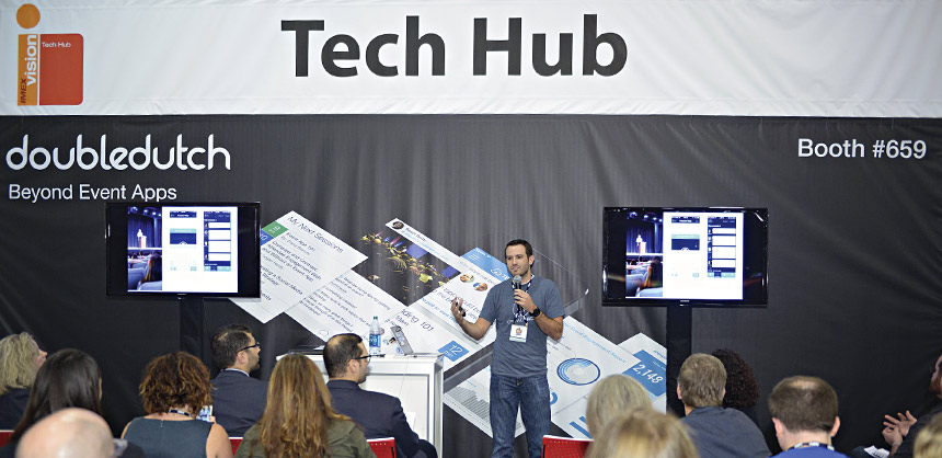The Tech Hub at this year's IMEX America was sponsored by DoubleDutch, a global provider of mobile event technology. Credit: IMEX America