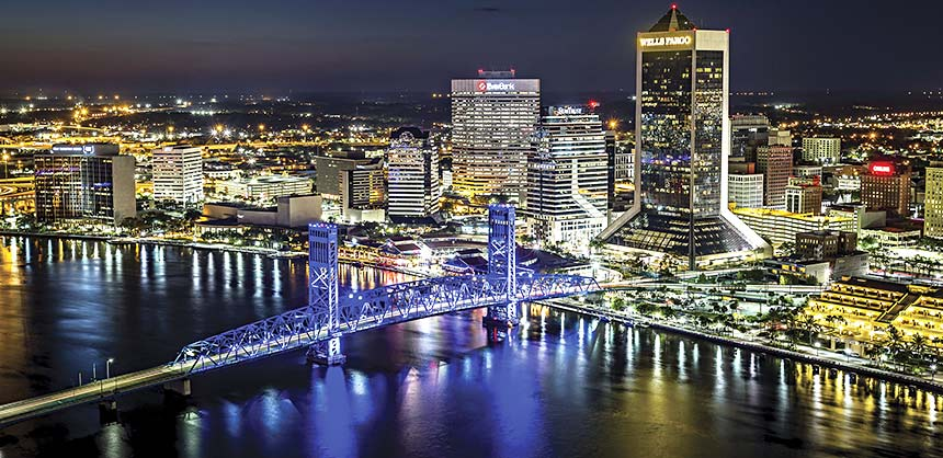 The Jacksonville skyline and the St. Johns River. Credit: Ryan Ketterman/Visit Jacksonville