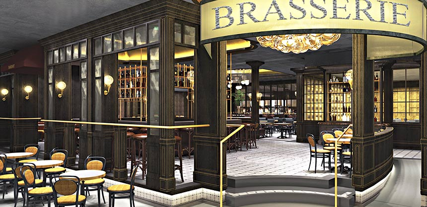 Rendering of Michael Mina's new Bardot Brasserie at the Aria Resort & Casino in Las Vegas.