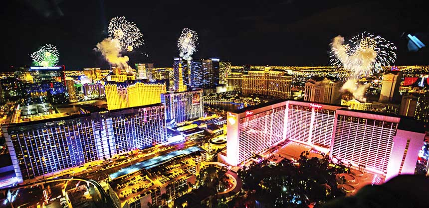 New Year's Eve fireworks on the Las Vegas Strip as seen from the High Roller observation wheel. Credit: Erik Kabik/Kabik Photo Group