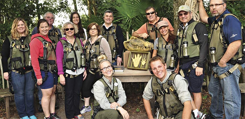 Employees of Becton Dickinson venture off the beaten path at Disney's Animal Kingdom as part of a private sunset adventure that featured a trek through an unexplored forest and a journey across a savanna filled with exotic animals. Credit: ©Disney
