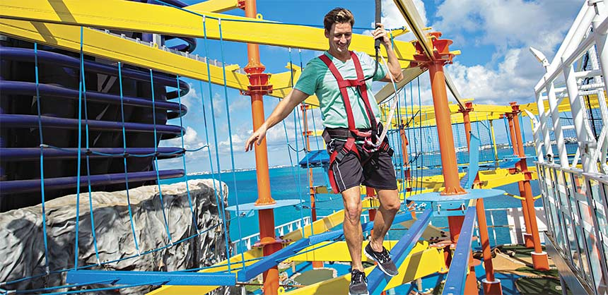 Norwegian's first-ever ropes course has more than 40 different elements, including a zip track and the Plank, a platform that extends 8 feet over the side of the ship.