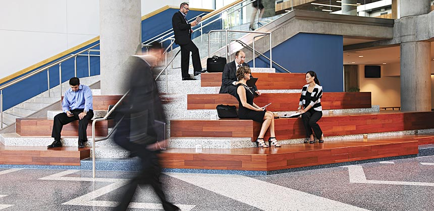 Planner input helped designers create lobby networking areas such as these sit steps at the San Jose McEnery Convention Center.