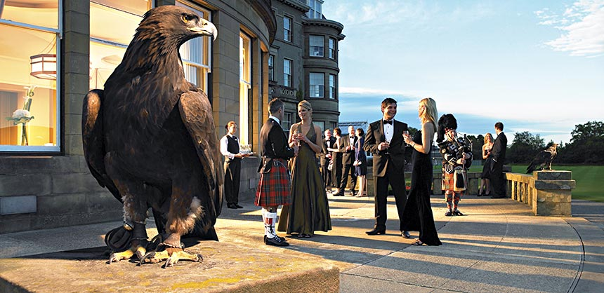 A once-in-a-lifetime gala at the iconic Gleneagles Hotel, near Edinburgh, Scotland, in the Perthshire countryside.