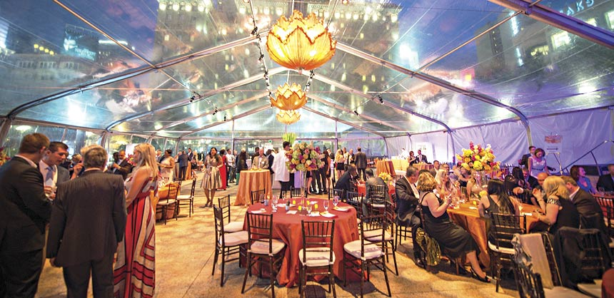 JM&A Group's final night dinner was held under a clear span tent in San Francisco's Union Square. Credit: Access Destination Services