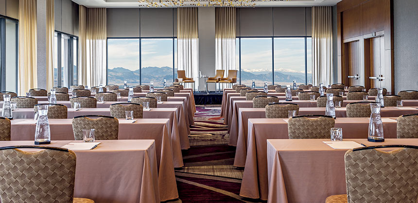 On a clear day, attendees can see forever from the Pinnacle Club's perch on the 38th floor of the Grand Hyatt Denver.
