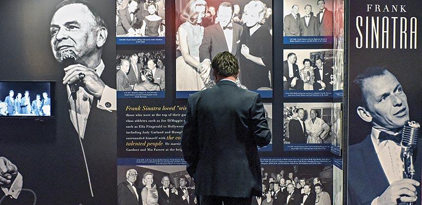 The Frank Sinatra Centennial Exhibit by the Las Vegas News Bureau on display in the Las Vegas Convention Center.  Credit: Mark Damon/Las Vegas News Bureau