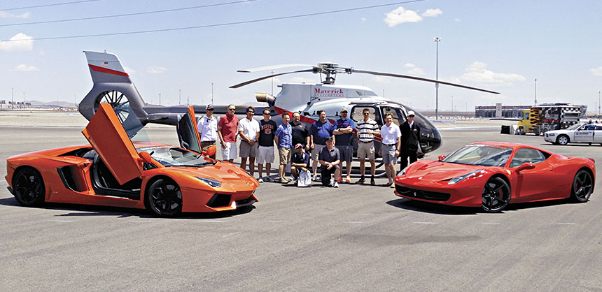Billy Ford, S.V.P., Kemira Chemicals Inc., takes his Pinnacle Award winners to Las Vegas' Exotics Racing where they drive supercars at triple-digit speeds and then has Maverick Aviation copters swoop in to take them for a trip to the Grand Canyon for a WOW incentive. Credit: Kemira Chemicals Inc.