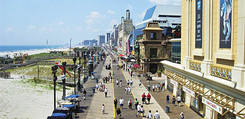 Originally built in the late 1800s, Atlantic City's famous Boardwalk stretches for more than four miles.