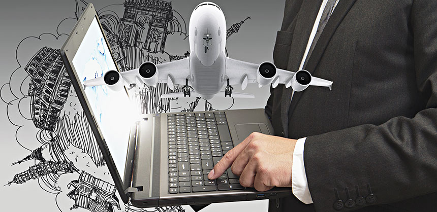 business man shows laptop and dream travel
