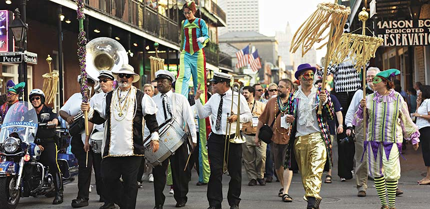 Revelers in Bourbon Street in the French Quarter during Mardi Gras — the annual Carnival celebration. Credit: Cosmo Condina and NewOrleansOnline.com