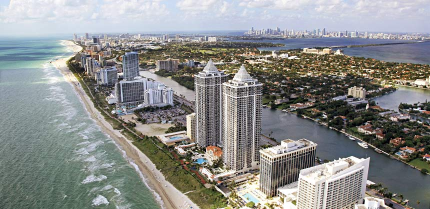 An aerial view of the Miami Beach skyline. Credit: Greater Miami Convention & Visitors Bureau
