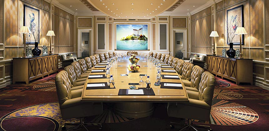 The Nassau Boardroom at The Mirage seats 24 and provides state-of-the-art audio-visual technology. Credit: MGM Resorts International