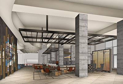 A rendering of the Hilton Austin lobby.