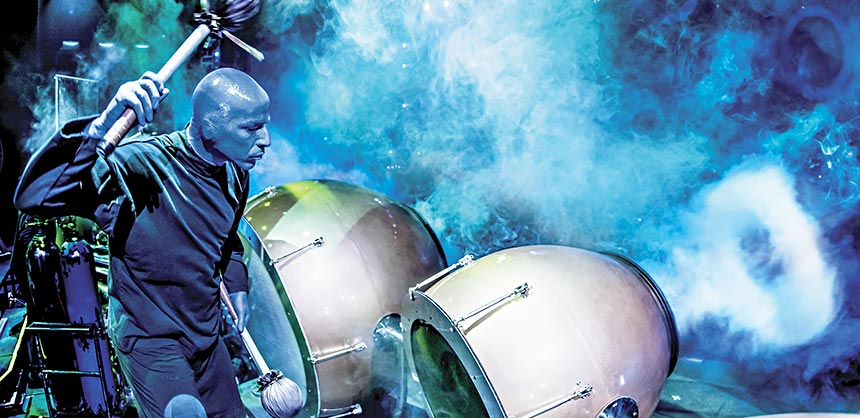 A smoke drums performance by Blue Man Group at the Luxor Hotel & Casino. Credit: Lindsey Best