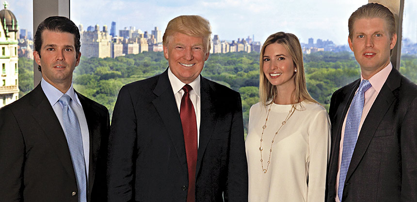 The Trump Organization (from left) EVP Donald Trump Jr.; Chairman and President Donald J. Trump; EVP Ivanka Trump; and EVP Eric Trump. Credit: Douglas Gorenstein