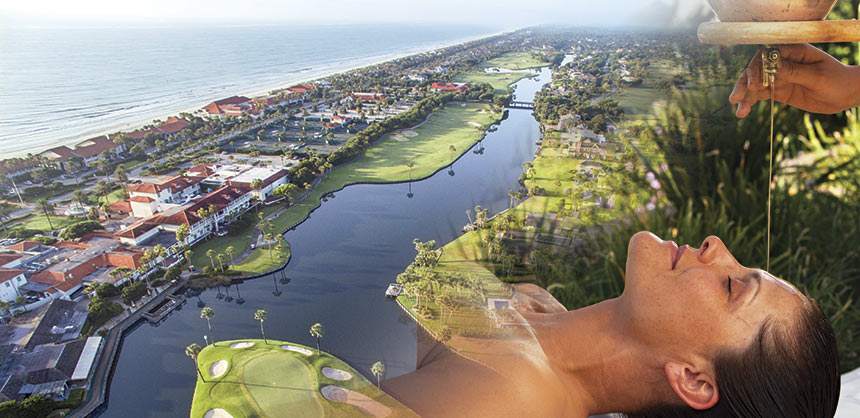 "An aerial view of Ponte Vedra Inn & Club's famous ""Island 9th"" hole; and a shirodhara treatment at Spa at the Boulders Resort & Spa — a 33,000-sf award-winning luxury spa."