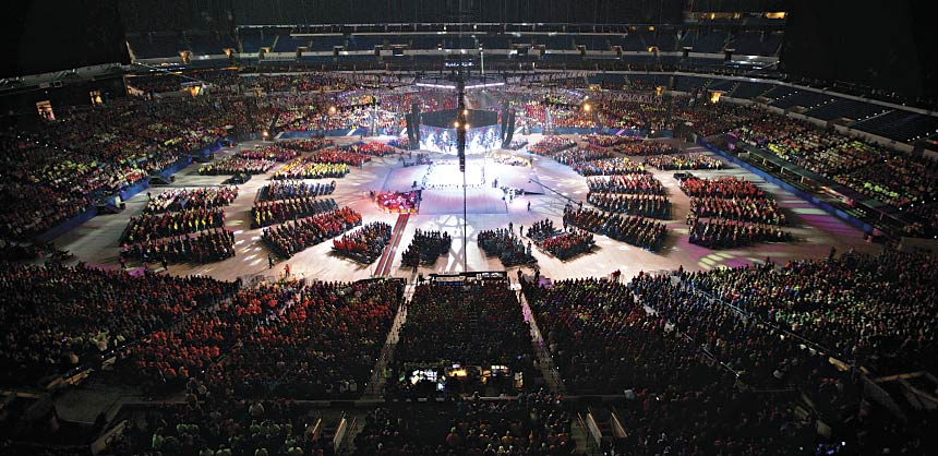 A religious meeting at Lucas Oil Stadium in downtown Indianapolis. Credit: www.VisitIndy.com
