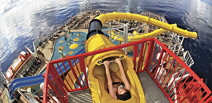 Carnival Imagination's WaterWorks features the longest water slide at sea.
