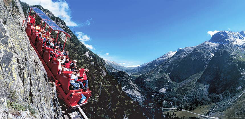 The Gelmer funicular, the steepest cable railroad in the world with its 106 percent gradient, takes guests up to the picturesque Lake Gelmer in the Bernese Oberland region in Switzerland. Credit: Switzerland Convention & Incentive Bureau