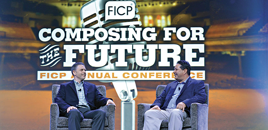 """Incoming FICP Chair Joe Scully (left), John Hancock Financial Services, and FICP Executive Director Steve Bova during a """"talk show"""" at the closing general session."""