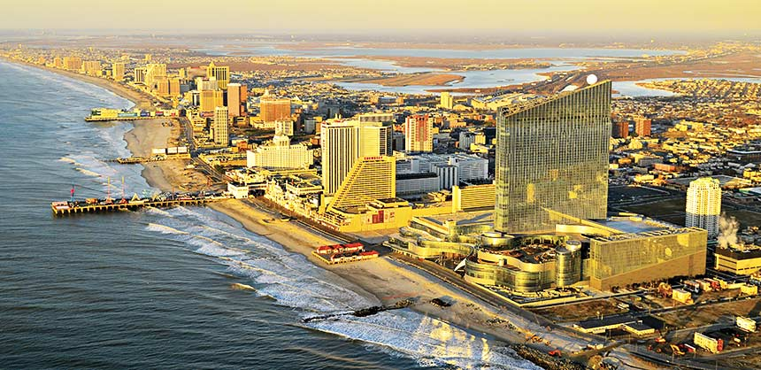 Aerial views of Atlantic City, New Jersey.