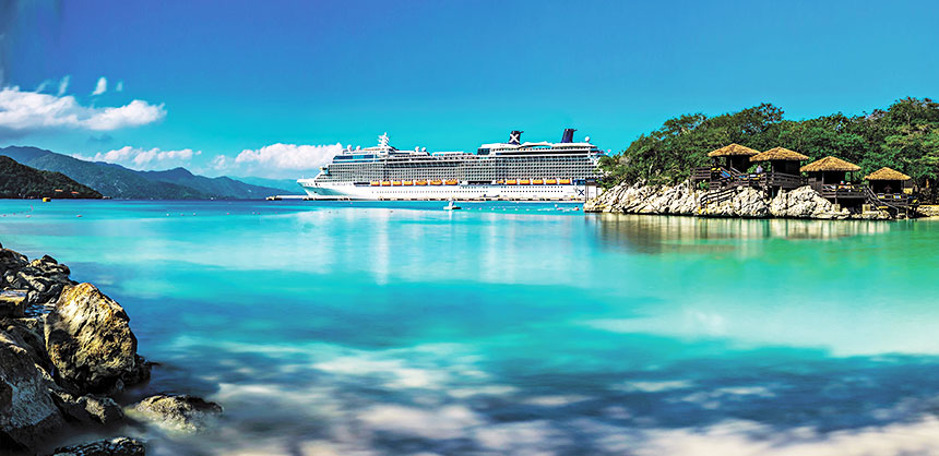 A Celebrity Cruises ship arrives in the port of Labadee on the northern coast of Haiti. Credit: Celebrity Cruises
