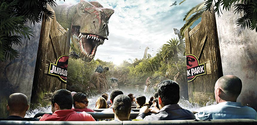 The Jurassic Park River Adventure ride at Universal Studios Hollywood.